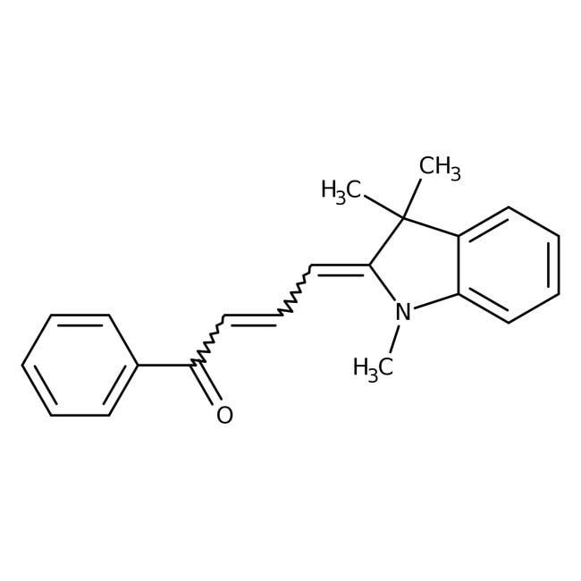 Alfa Aesar™(2E,4E)-1-Phenyl-4-(1,3,3-trimethyl-2-indolinylidene)-2-buten-1-one, 95% 250mg Alfa Aesar™(2E,4E)-1-Phenyl-4-(1,3,3-trimethyl-2-indolinylidene)-2-buten-1-one, 95%