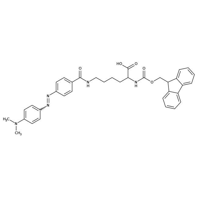 Nepsilon-4-[4-(dimethylamino)phenylazo]benzoyl-Nalpha-Fmoc-L-lysin, 95%, Alfa Aesar™ 250mg Nepsilon-4-[4-(dimethylamino)phenylazo]benzoyl-Nalpha-Fmoc-L-lysin, 95%, Alfa Aesar™