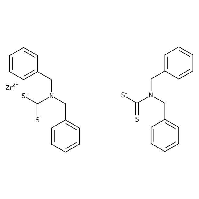 Dibenzyldithiocarbamic acid zinc salt, 95%, ACROS Organics™ 100g; Glass bottle Dibenzyldithiocarbamic acid zinc salt, 95%, ACROS Organics™