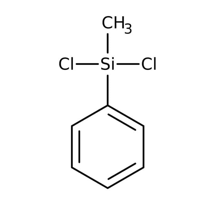 Dichloromethylphenylsilane, 98%, Acros Organics 100mL; Glass bottle Dichloromethylphenylsilane, 98%, Acros Organics
