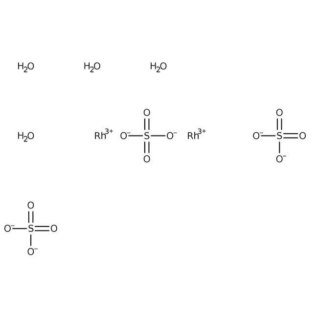 Alfa Aesar™Sulfate de rhodium(III) tétrahydraté, Premion™, 99,99% (base de métaux), Rh 35,9% min 1g Alfa Aesar™Sulfate de rhodium(III) tétrahydraté, Premion™, 99,99% (base de métaux), Rh 35,9% min