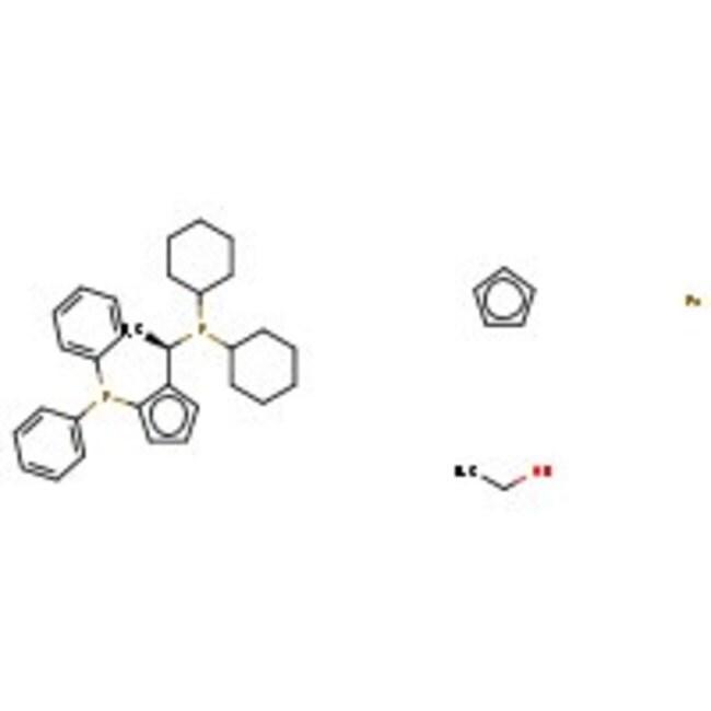 (R)-(-)-1-[(S)-2-(Diphenylphosphino)ferrocenyl]ethyldicyclohexylphosphine, 97+%, ACROS Organics™ 500mg (R)-(-)-1-[(S)-2-(Diphenylphosphino)ferrocenyl]ethyldicyclohexylphosphine, 97+%, ACROS Organics™