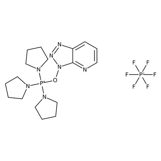(7-Azabenzotriazol-1-yloxy)tripyrrolidinophosphonium hexafluorophosphate, 98%, ACROS Organics™ 5g; Glass bottle (7-Azabenzotriazol-1-yloxy)tripyrrolidinophosphonium hexafluorophosphate, 98%, ACROS Organics™