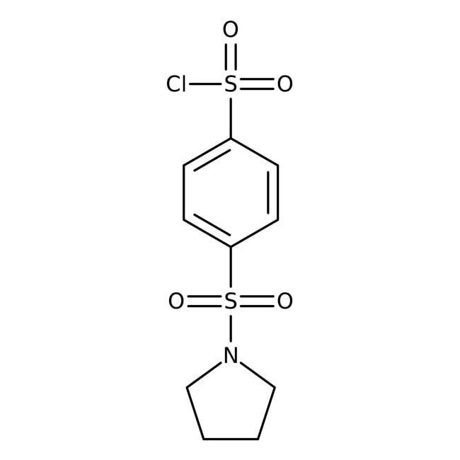4-(pyrrolidin-1-sulfonyl)-benzolsulfonsäurechlorid, technischer Güte, Maybridge Braunglasflasche, 10g 4-(pyrrolidin-1-sulfonyl)-benzolsulfonsäurechlorid, technischer Güte, Maybridge