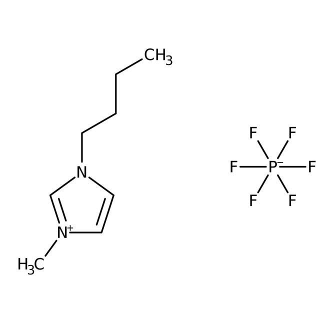 1-Butyl-3-methylimidazolium hexafluorophosphate, 98+%, ACROS Organics™ 25g; Glass bottle 1-Butyl-3-methylimidazolium hexafluorophosphate, 98+%, ACROS Organics™