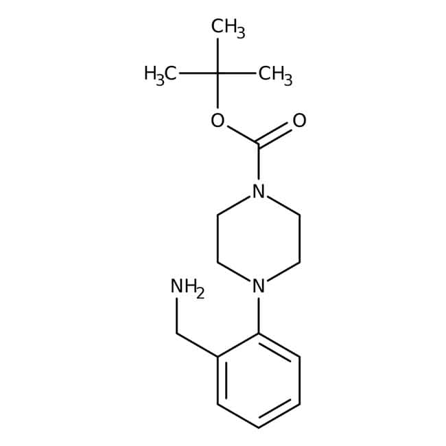 tert-Butyl 4-(2-(aminomethyl)phenyl)piperazine-1-carboxylate, ≥97%, Maybridge™ Amber Glass Bottle; 250mg tert-Butyl 4-(2-(aminomethyl)phenyl)piperazine-1-carboxylate, ≥97%, Maybridge™
