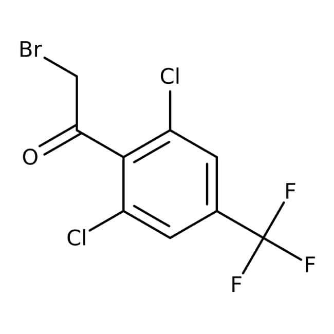 2-Bromo-1-[2,6-dichloro-4-(trifluoromethyl)phenyl]ethan-1-one, Maybridge™ Amber Glass Bottle; 1g 2-Bromo-1-[2,6-dichloro-4-(trifluoromethyl)phenyl]ethan-1-one, Maybridge™