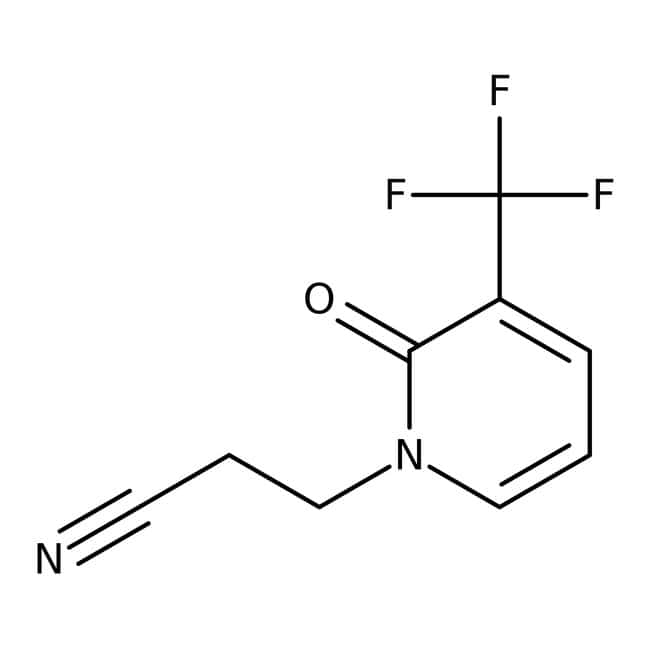 3-[2-Oxo-3-(trifluoromethyl)-1,2-dihydropyridin-1-yl]propanenitrile, 97%, Maybridge Amber Glass Bottle; 10g 3-[2-Oxo-3-(trifluoromethyl)-1,2-dihydropyridin-1-yl]propanenitrile, 97%, Maybridge