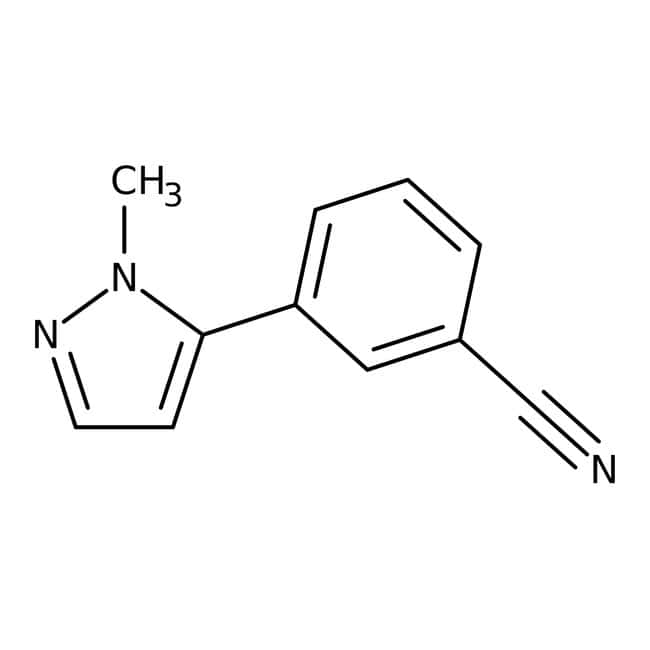 3-(1-Methyl-1H-pyrazol-5-yl)benzonitrile, 97%, Maybridge™ Amber Glass Bottle; 1g 3-(1-Methyl-1H-pyrazol-5-yl)benzonitrile, 97%, Maybridge™