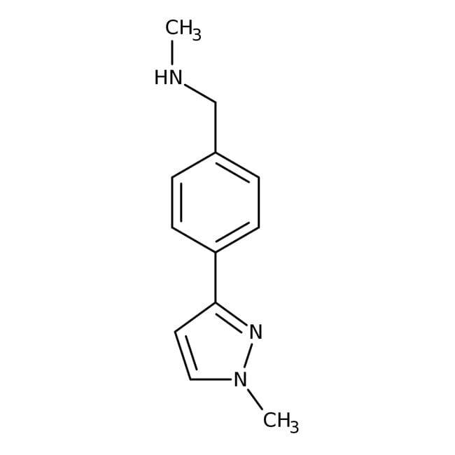 N-Methyl-4-(1-methyl-1H-pyrazol-3-yl)benzylamine, 90%, Maybridge™ Amber Glass Bottle; 1g N-Methyl-4-(1-methyl-1H-pyrazol-3-yl)benzylamine, 90%, Maybridge™