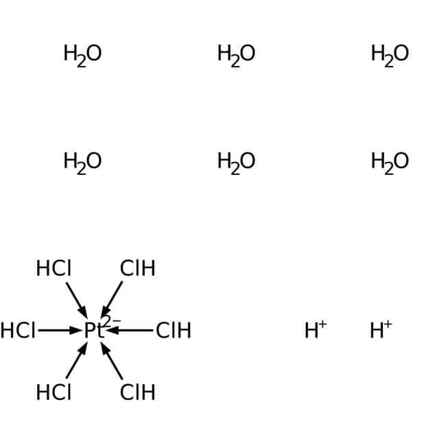 Alfa Aesar™Dihydrogen hexachloroplatinate(IV) hexahydrate, low nitrate, Premion™, 99.95% (metals basis), Pt 37.5% min: Componentes orgánicos Productos quimicos