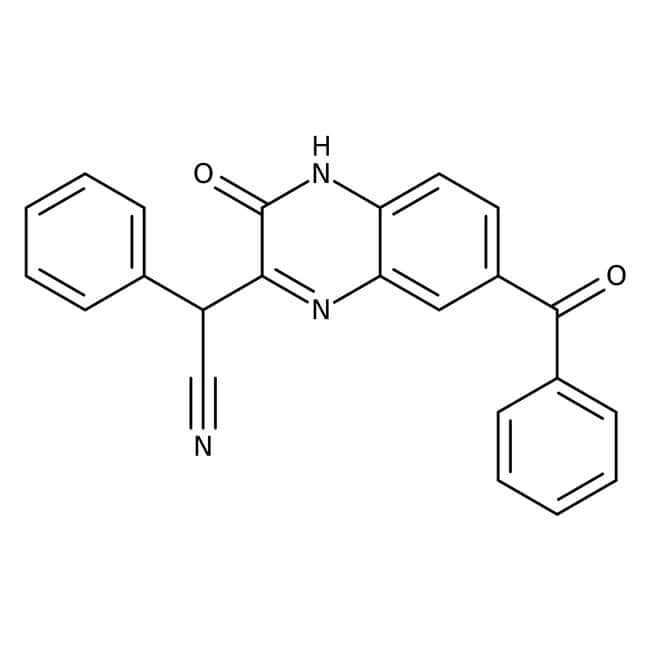 Alfa Aesar™6-Benzoyl-3-(alpha-cyanobenzyl)-2(1H)-quinoxalinone, 97% 5g Alfa Aesar™6-Benzoyl-3-(alpha-cyanobenzyl)-2(1H)-quinoxalinone, 97%