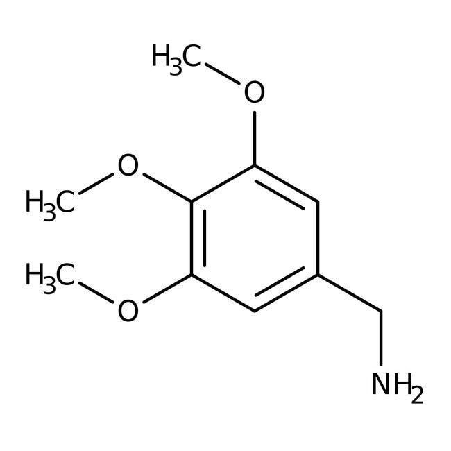 3,4,5-Trimethoxybenzylamine, 96%, ACROS Organics™ 25g; Glass bottle 3,4,5-Trimethoxybenzylamine, 96%, ACROS Organics™