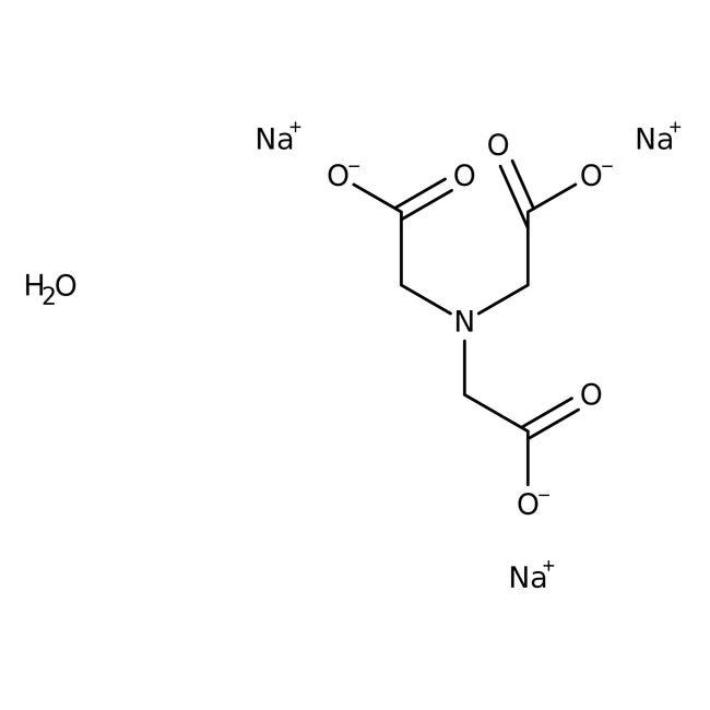 Nitrilotriacetic acid, trisodium salt, monohydrate, 99+%, ACROS Organics™ 2.5Kg; Plastic bottle Nitrilotriacetic acid, trisodium salt, monohydrate, 99+%, ACROS Organics™