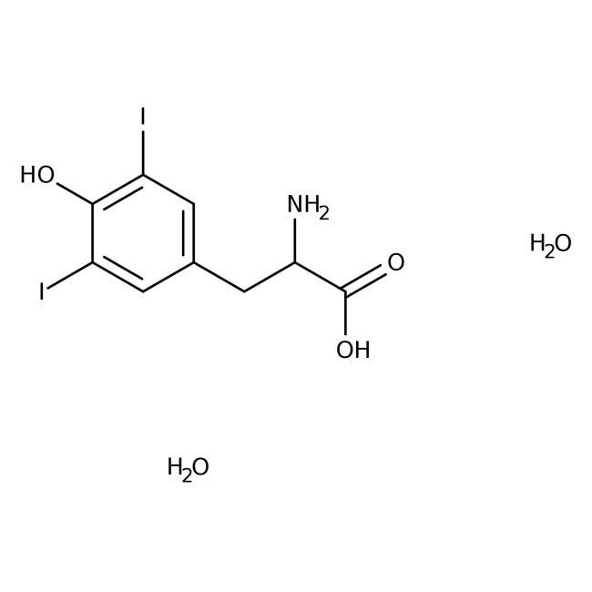 Alfa Aesar™3,5-Diiodo-L-tyrosine hydrate, 98% (dry wt.), may contain up to ≈10% water 100g Alfa Aesar™3,5-Diiodo-L-tyrosine hydrate, 98% (dry wt.), may contain up to ≈10% water