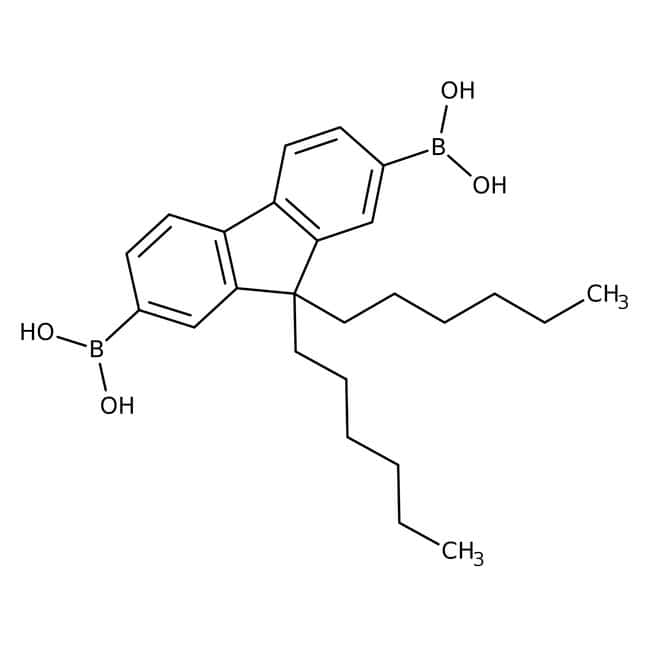 Alfa Aesar™9,9-Di-n-hexylfluorene-2,7-diboronic acid, 97% 250mg Alfa Aesar™9,9-Di-n-hexylfluorene-2,7-diboronic acid, 97%