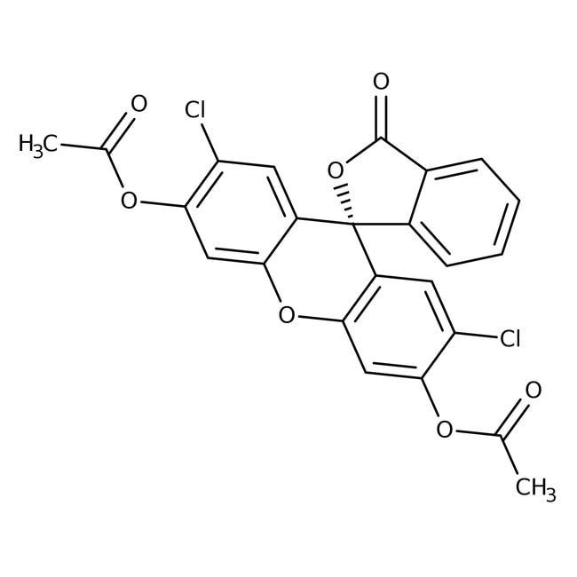 2',7'-Dichlorofluorescein 3',6'-diacetate, 97%, ACROS Organics™ 1g; Glass bottle 2',7'-Dichlorofluorescein 3',6'-diacetate, 97%, ACROS Organics™