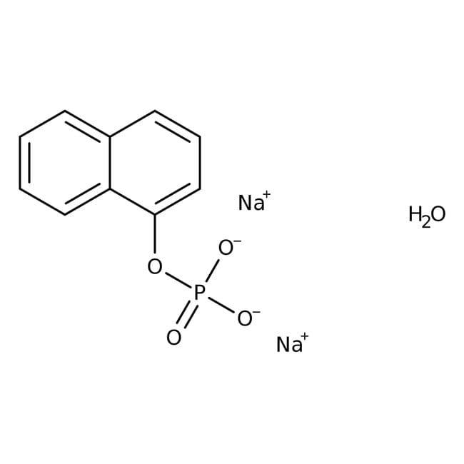 Phosphate de 1-naphtyle, sel disodique hydraté, 98%, ACROS Organics™ 5g, flacon de verre Phosphate de 1-naphtyle, sel disodique hydraté, 98%, ACROS Organics™