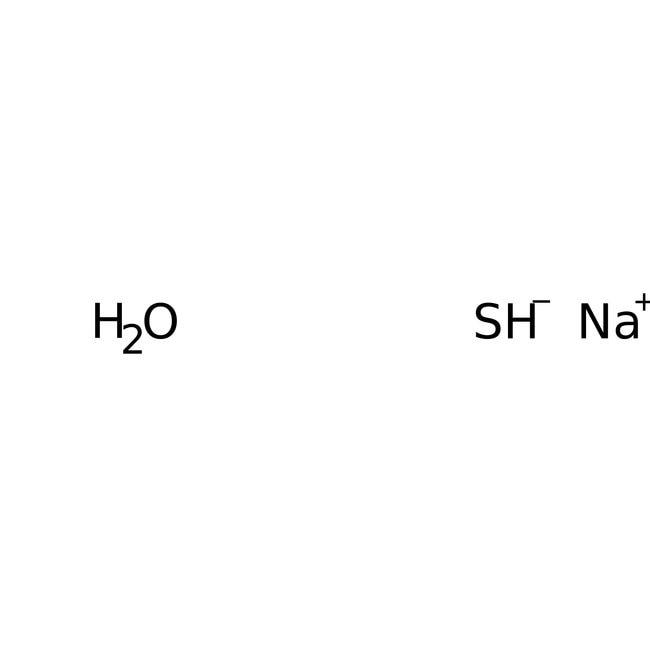 Sodium hydrosulfide hydrate, pure, flakes, ACROS Organics™ 25g; Glass bottle Sodium hydrosulfide hydrate, pure, flakes, ACROS Organics™