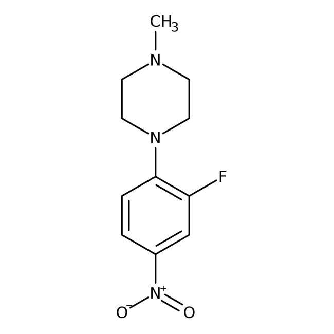 Alfa Aesar™1-(2-Fluor-4-nitrophenyl)-4-methylpiperazin, 97% 250mg Alfa Aesar™1-(2-Fluor-4-nitrophenyl)-4-methylpiperazin, 97%