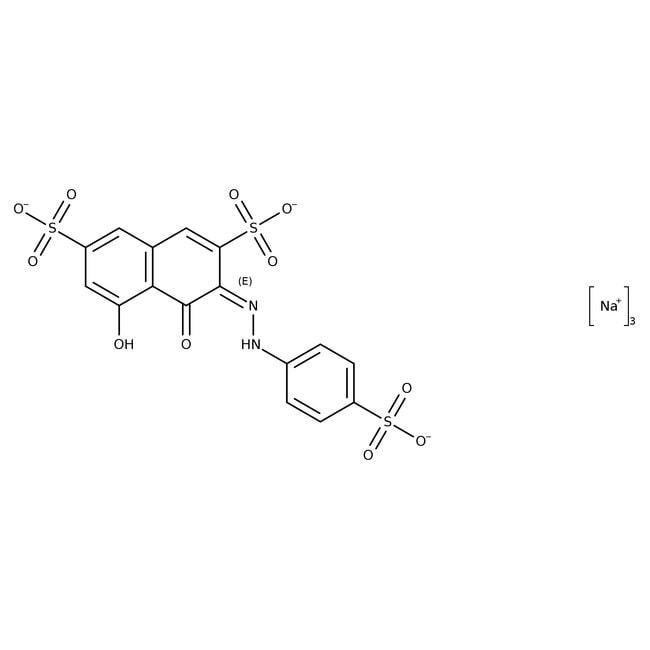 2-(4-Sulfophenylazo)1,8-dihydroxy-3,6-naphthalenedisulfonic acid, trisodium salt, in, ACROS Organics™ 100g; Glass bottle 2-(4-Sulfophenylazo)1,8-dihydroxy-3,6-naphthalenedisulfonic acid, trisodium salt, in, ACROS Organics™