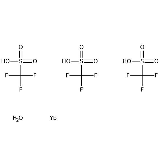 Ytterbium(III) triflate hydrate, 99.9%, (trace metal basis), ACROS Organics™ 25g; Glass bottle Ytterbium(III) triflate hydrate, 99.9%, (trace metal basis), ACROS Organics™