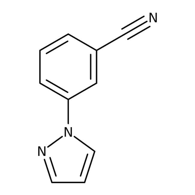 3-(1H-Pyrazol-1-yl)benzonitrile, ≥97%, Maybridge Amber Glass Bottle; 10g 3-(1H-Pyrazol-1-yl)benzonitrile, ≥97%, Maybridge