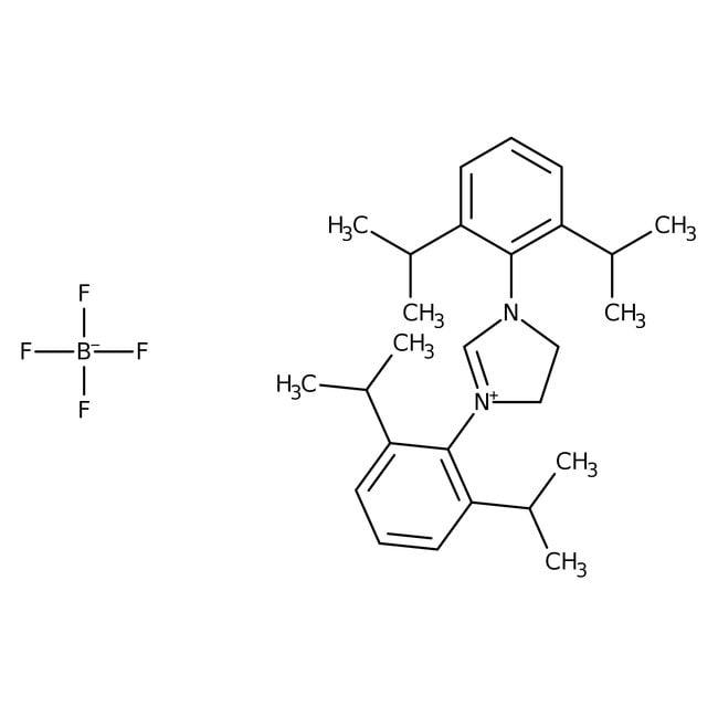 1,3-Bis(2,6-diisopropylphenyl)imidazolidinium tetrafluoroborate, 97+%, ACROS Organics™ 5g; Glass bottle 1,3-Bis(2,6-diisopropylphenyl)imidazolidinium tetrafluoroborate, 97+%, ACROS Organics™