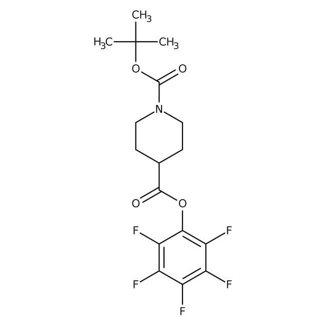 1-tert-Butyl 4-(pentafluorophenyl) piperidine-1,4-dicarboxylate, 97%, Maybridge™ Amber Glass Bottle; 250mg 1-tert-Butyl 4-(pentafluorophenyl) piperidine-1,4-dicarboxylate, 97%, Maybridge™