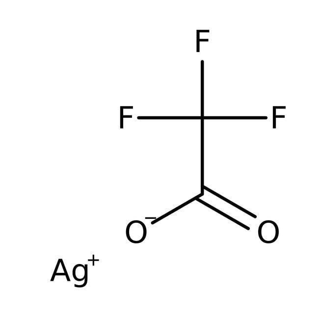 Trifluoroacetic acid, silver salt, 98%, Acros Organics 5g; Glass bottle Trifluoroacetic acid, silver salt, 98%, Acros Organics