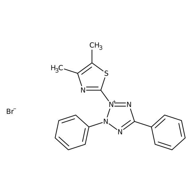 Thiazolyl blue tetrazolium bromide, 98%, ACROS Organics™ Glass bottle; 1g Thiazolyl blue tetrazolium bromide, 98%, ACROS Organics™