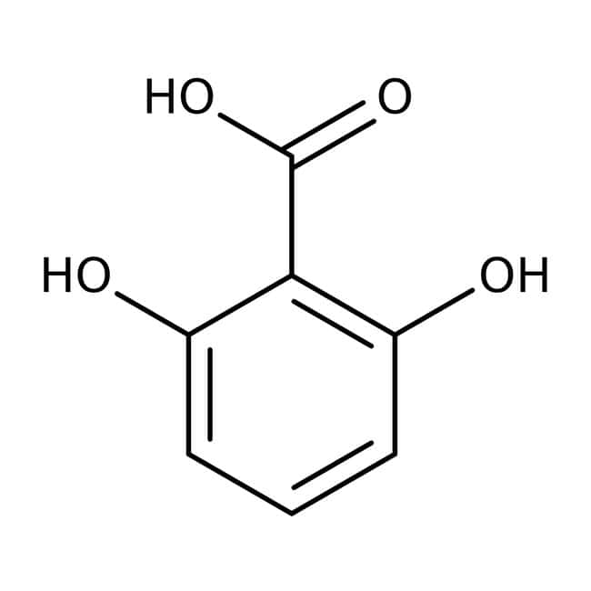 2,6-Dihydroxybenzoic acid, 97%, ACROS Organics™ 100g; Plastic bottle 2,6-Dihydroxybenzoic acid, 97%, ACROS Organics™