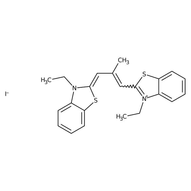 Alfa Aesar™3,3'-Diethyl-9-methylthiacarbocyanine iodide, 98%