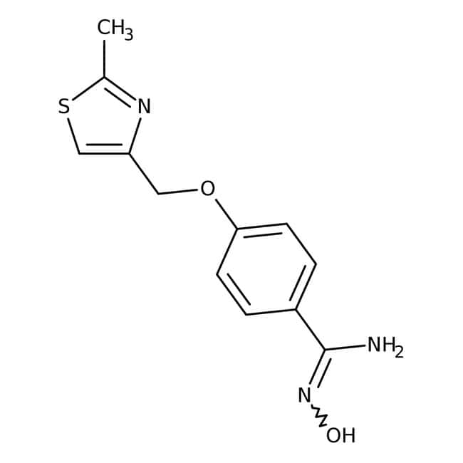 N'-Hydroxy-4-[(2-methyl-1,3-thiazol-4-yl)methoxy]benzenecarboximidamide, 95%, Maybridge™ Amber Glass Bottle; 1g N'-Hydroxy-4-[(2-methyl-1,3-thiazol-4-yl)methoxy]benzenecarboximidamide, 95%, Maybridge™