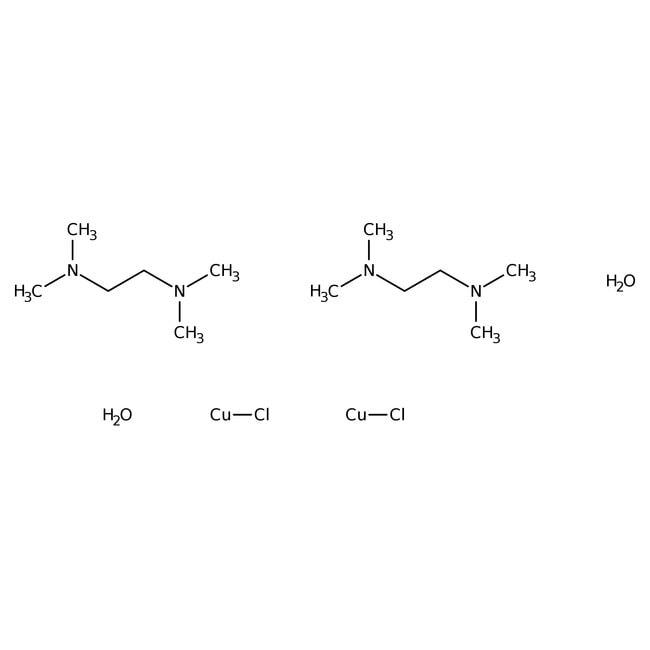 Di-µ-hydroxo-bis-[(N,N,N',N'-tetramethylethylenediamine)copper(II)]chloride, 98%, ACROS Organics™ Glass bottle; 25g Di-µ-hydroxo-bis-[(N,N,N',N'-tetramethylethylenediamine)copper(II)]chloride, 98%, ACROS Organics™