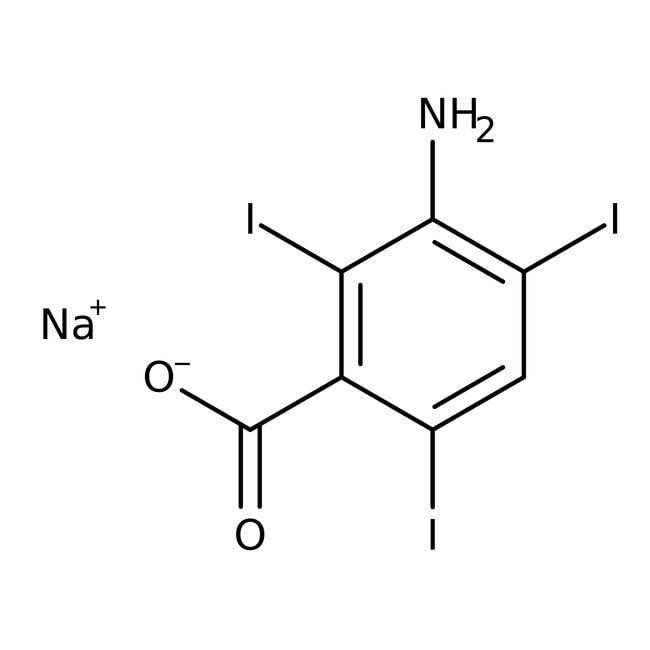 Alfa Aesar™Ácido 3-amino-2,4,6-triyodobenzoico, 99% (peso en seco), puede contener hasta 1mol de agua 25g Alfa Aesar™Ácido 3-amino-2,4,6-triyodobenzoico, 99% (peso en seco), puede contener hasta 1mol de agua