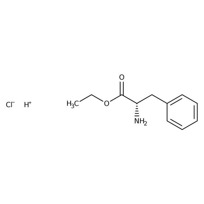 L-Fenilalanina etil éster clorhidrato, 99%, ACROS Organics™ 10g; frasco de plástico L-Fenilalanina etil éster clorhidrato, 99%, ACROS Organics™
