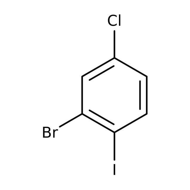 2-Bromo-4-chloro-1-iodobenzene, 98%, Acros Organics 25g, Glass bottle 2-Bromo-4-chloro-1-iodobenzene, 98%, Acros Organics