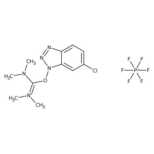 O-(6-Chlorobenzotriazol-1-yl)-N,N,N',N'-tetramethyluronium hexafluorophosphate, 98%, ACROS Organics™ 10g O-(6-Chlorobenzotriazol-1-yl)-N,N,N',N'-tetramethyluronium hexafluorophosphate, 98%, ACROS Organics™
