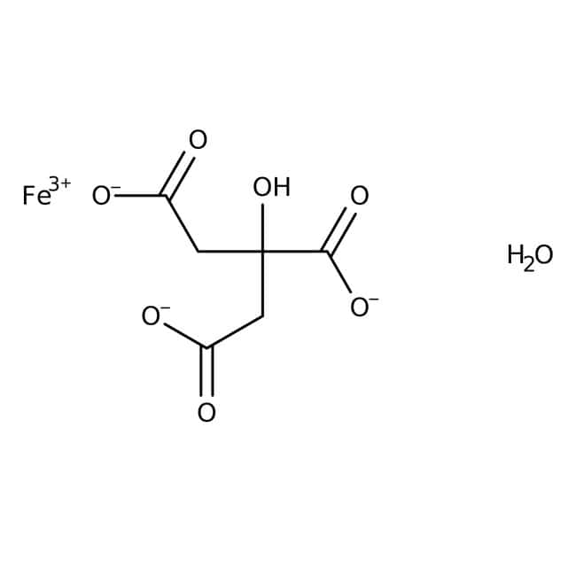 Iron(III) citrate hydrate, Fe(III) 16.5-20%; Fe(II) max 5%, Thermo Scientific™