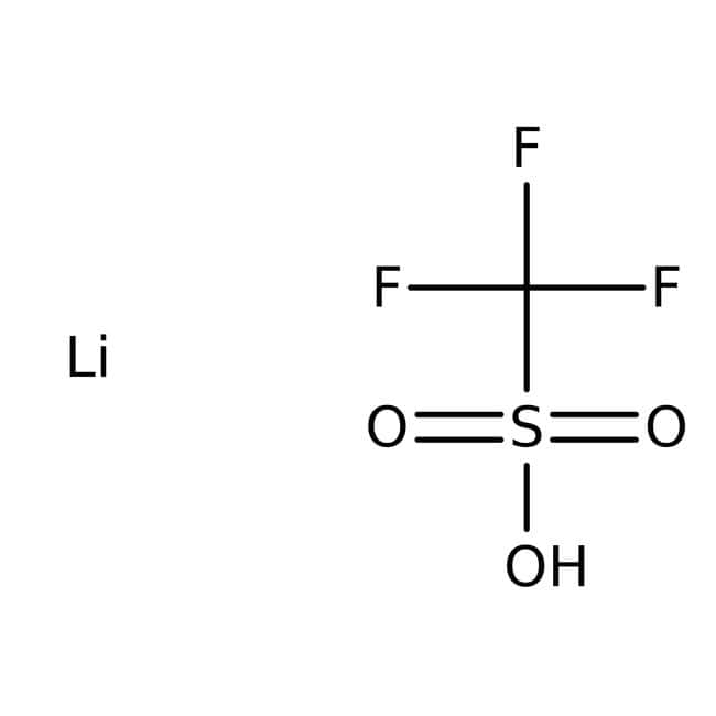 Lithium trifluoromethanesulfonate, 98%, ACROS Organics™ 5g; Glass bottle Lithium trifluoromethanesulfonate, 98%, ACROS Organics™