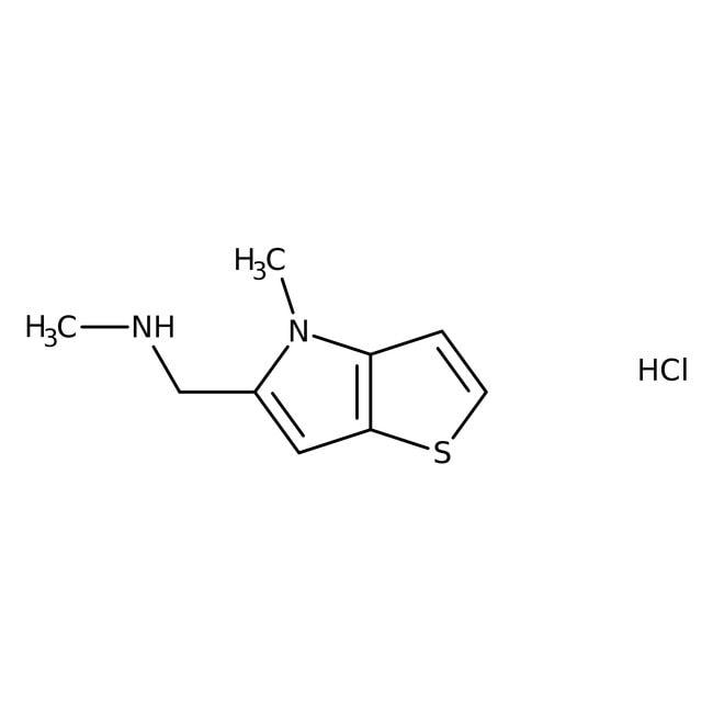 N-Methyl-N-[(4-methyl-4H-thieno[3,2-b]pyrrol-5-yl)methyl]amine hydrochloride, 95%, Maybridge™ Amber Glass Bottle; 1g N-Methyl-N-[(4-methyl-4H-thieno[3,2-b]pyrrol-5-yl)methyl]amine hydrochloride, 95%, Maybridge™