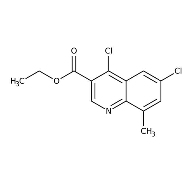 Alfa Aesar™Ethyl 4,6-dichloro-8-methylquinoline-3-carboxylate, 97% 1g Alfa Aesar™Ethyl 4,6-dichloro-8-methylquinoline-3-carboxylate, 97%