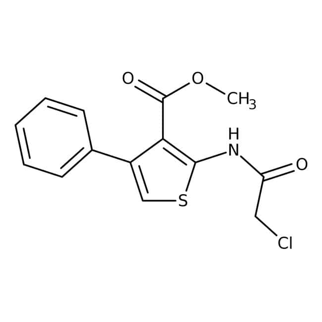Alfa Aesar™ Methyl 2-(2-chloroacetamido)-4-phenylthiophene-3-carboxylate, 96% 5g Alfa Aesar™ Methyl 2-(2-chloroacetamido)-4-phenylthiophene-3-carboxylate, 96%