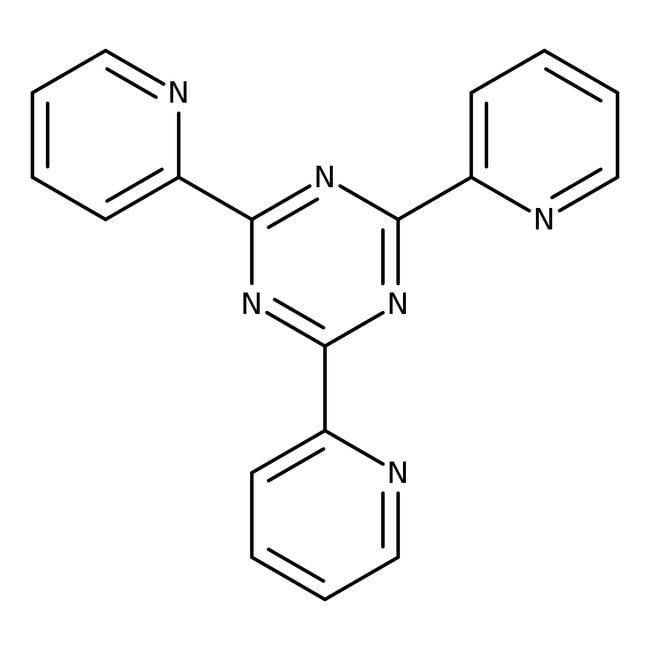 2,4,6-Tri(2-pyridyl)-s-triazine, 99%, ACROS Organics™ 5g; Glass bottle 2,4,6-Tri(2-pyridyl)-s-triazine, 99%, ACROS Organics™