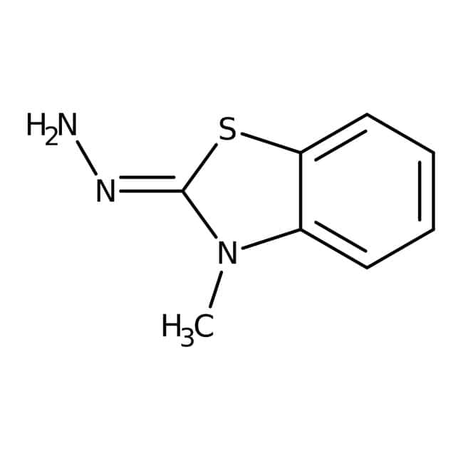 3-Methyl-2-benzothiazolinone Hydrazone Hydrochloride Monohydrate, 98%, ACROS Organics™ 250g; Glass bottle 3-Methyl-2-benzothiazolinone Hydrazone Hydrochloride Monohydrate, 98%, ACROS Organics™