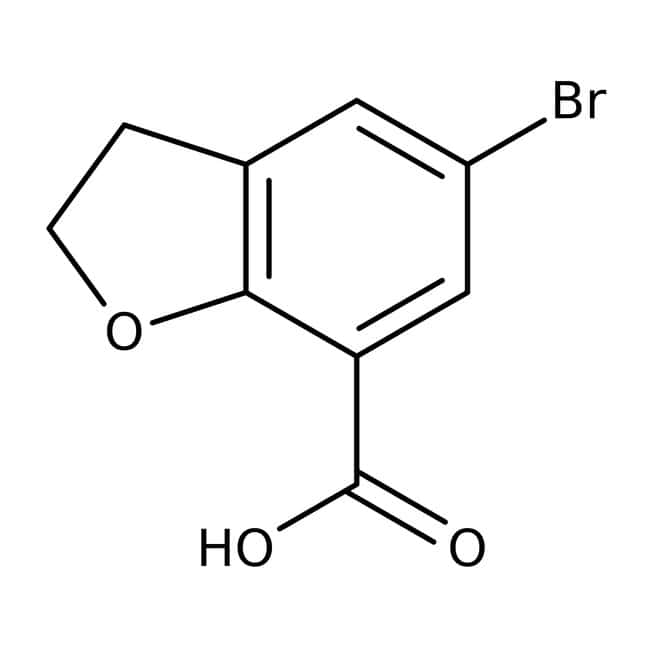 5-Bromo-2,3-dihydrobenzo[b]furan-7-carboxylic acid, 97%, Maybridge™ Amber Glass Bottle; 1g 5-Bromo-2,3-dihydrobenzo[b]furan-7-carboxylic acid, 97%, Maybridge™