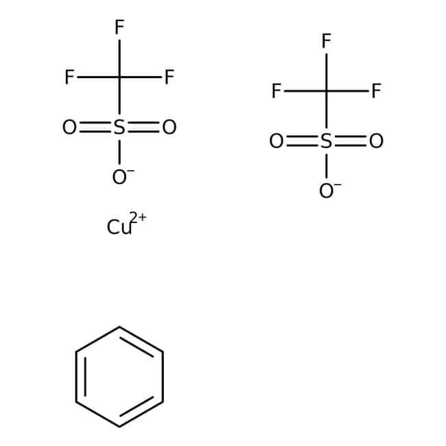 Copper(I) trifluoromethanesulfonate benzene complex, 90%, ACROS Organics™ 1g; Glass bottle Copper(I) trifluoromethanesulfonate benzene complex, 90%, ACROS Organics™
