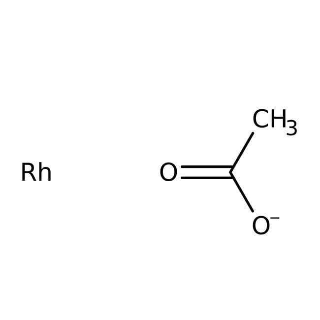 Rhodium acetate, ca. 40% Rh, brown, water soluble, ACROS Organics™