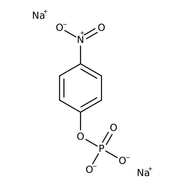 4-Nitrophenyl phosphate, disodium salt, hexahydrate, 98+%, ACROS Organics™ 50g; Glass bottle 4-Nitrophenyl phosphate, disodium salt, hexahydrate, 98+%, ACROS Organics™